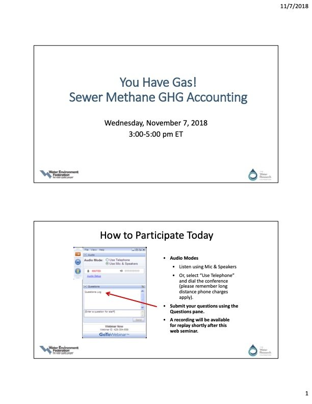 Sewer Methane Green House Gas Accounting
